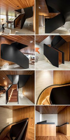 From many angles these stairs appear to just be a black staircase, however when… Black Staircase, Staircase Design, Stair Design, Staircase Diy, Staircases, Contemporary Architecture, Interior Architecture, Natural Stone Flooring, Modern Stairs