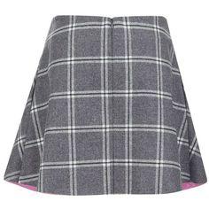 Paul & Joe Sister Women's Electre Mini Skirt - Grey ($200) ❤ liked on Polyvore featuring skirts, mini skirts, bottoms, grey, gray skirt, circle skirt, grey plaid skirt, grey skirt and mini skater skirt