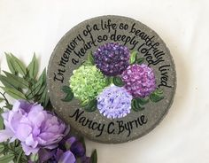 Items similar to MEMORIAL Gifts - Memorial Garden Stone - Memorial Gift - Memorial Gifts - Memorial Stone - Hydrageas - Gifts for Memorials - Memorial on Etsy Retirement Gifts For Women, Wedding Gifts For Parents, Fashion Kids, Painted Stepping Stones, Painted Rocks, Memorial Garden Stones, Memorial Gardens, Personalized Memorial Gifts, Bereavement Gift