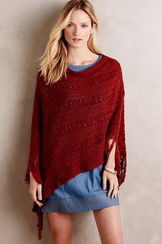 Redwood Poncho - anthropologie.co... Amazing $125 for acrylic - easy to make just two rectangles - look closely how it is put together
