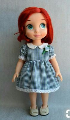 Inspiration - plaid and trims (Lace and ribbon rose) Disney Animator Doll, Disney Dolls, Girl Doll Clothes, Girl Dolls, Newberry Dolls, Disney Animators Collection Dolls, Ariel Doll, Wellie Wishers Dolls, Barbie Dress