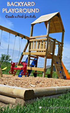 Create your own DIY Backyard Playground to entertain the kids. This is an easy construction project with simple materials for a playset and large sandbox.