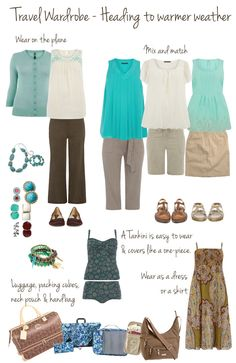 Plus size Travel Wardrobe in Mint and Brown