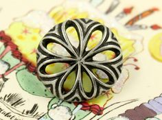 Daisy Metal Buttons , Antique Silver Color , Openwork , Shank , 0.79 inch , 6 pcs by Lyanwood, $5.00