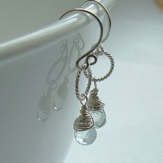 Aquamarine Earrings Sterling Silver Wire Wrap Pastel by ArtistiKat, $33.95