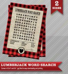 Lumberjack Word Search - Lumberjack party - Lumberjack party supplies - Party Games - Lumberjack party games - Word Search Game by WolcottDesigns on Etsy