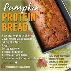 Healthy Pumpkin Bread Recipe - Fitness For Women by Flavia Del Monte Healthy Sweets, Healthy Baking, Healthy Snacks, Healthy Life, Healthy Pumpkin Bread, Healthy Pumpkin Recipes, Pumpkin Protein Muffins, Vegan Recipes, Bread Recipes