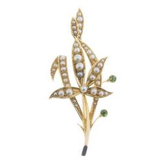 13-08-2015 | Antique early 1900s pearl garnet gold brooch x
