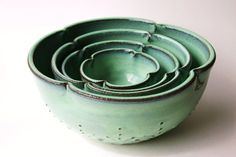 Ceramic Nesting Bowls  Set of 4 Serving Dishes  by BackBayPottery, $168.00