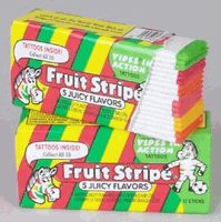 Delicious Fun stripe gum with tattoos on the wrappers