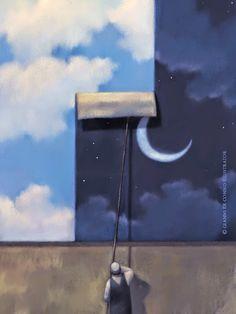 Gianni De Conno L'Attacchino (Tognolini) Communication Art, Good Night Moon, Arts Award, Italian Artist, Beautiful Paintings, Night Skies, Contemporary Artists, Stars And Moon, Decoration
