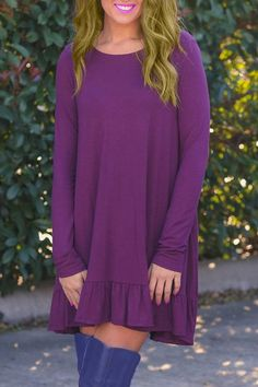 Casual Long Sleeve Round Neck Solid Color Flounce Dress For Women