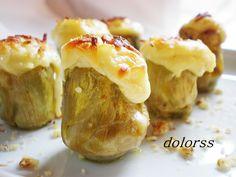 Blog de cuina de la dolorss: Alcachofas baby gratinadas con gorgonzola y nueces