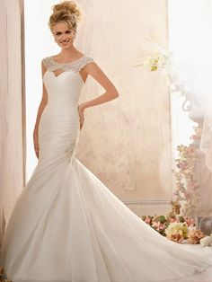 modabridal.co.uk SUPPLIES Fashionable Chic & Modern Button Dropped Chapel Beading Floor-Length Hourglass Summer Wedding Dress Ivory Wedding Dresses