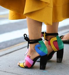 Street snap: colorful sandal pumps seen at NYFW.