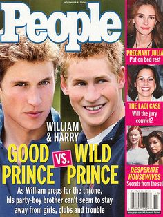 "NOVEMBER 2004    The differences between William and Harry become more apparent as the press ramps up its coverage of the brothers. As William studiously handles the responsibility of being England's future king, Harry relishes in his role as second son by partying, fighting and reportedly cheating on a graduation exam. ""William and I try to be normal,"" Harry says. ""It's very difficult, but we are who we are."