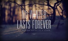 No winter lasts forever.  No spring skips it's turn.
