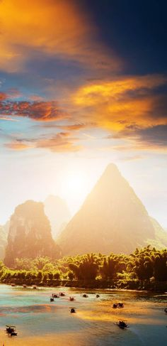 Amazing Sunset landscpae of Yangshuo in Guilin, China