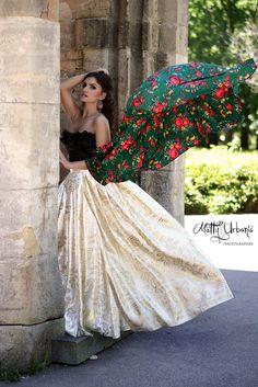 ♥ FRIDA ♥  - model / actress: Kristína Mečko - makeup: Katarína Kondákorová Make-up - earrings: CHAROIT -  skirt of golden luxury brocade and shawl  is a sewing workshop: LUXURY Day - handmade
