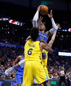 Oklahoma City Thunder guard Russell Westbrook shoots as Golden State Warriors guard Nick Young (6) defends during the second half of an NBA basketball game in Oklahoma City, Tuesday, April 3, 2018. (AP Photo/Sue Ogrocki)