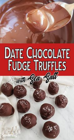 Date sweetened, dark chocolate truffle recipe to wow your friends and family. They'll be amazed that a dessert so good can be good for you too! Chocolate Avocado Brownies, Chocolate Covered Bananas, Healthy Chocolate, Chocolate Fudge, Lemon Desserts, Great Desserts, Healthy Dessert Recipes, Dessert Ideas, Keto Recipes