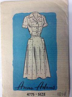 Vtg 50s Mail Order Dress Pattern Anne Adams Size 18 1/2