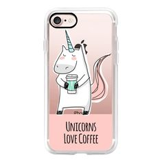 Unicorns Love Coffee - Pink - iPhone 7 Case, iPhone 7 Plus Case,... (145 QAR) ❤ liked on Polyvore featuring accessories, tech accessories, iphone case, apple iphone case, slim iphone case, iphone cases, pink iphone case and iphone cover case