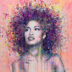 "Saatchi Art Artist: Lykke Steenbach Josephsen; canvas 2014 Printmaking ""African Queen - hand colored art print on canvas"""