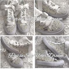 Pearl and Swarovski Crystal Rhinestone Custom High Top Converse Wedding Shoes - Bride Shoes - Pearl Wedding Shoes - Wedding Converse pearl wedding shoes, swarovski crystals, swarovski wedding shoes, custom converse, pearl converse, wedding converse, wedding shoes, bridal shoes, bridal converse, pearl wedding shoe, rhinestone converse, wedding chucks, pearl wedding converse