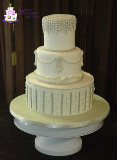 This is a class design that actually started out a different way, but with the planning of an actual wedding cake during the time of my classes, it was a week by week design. Actually had to finish it off at home with the beads around the top and the fondant on board. Class Design, Cake Creations, Gum Paste, Themed Cakes, Fondant, Wedding Cakes, Birthdays, Beads, Desserts