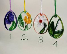 Easter tree ornaments Colorful Easter eggs with spring flower Unique handmade paper quilling Springtime decoration Floral Easter tree decor handmade – Tulip, Mimosa, Daffodil and Lily of the valley hanging Easter egg -spring rustic decor. Paper Quilling Earrings, Paper Quilling Tutorial, Paper Quilling Patterns, Quilled Paper Art, Quilling Paper Craft, Paper Crafts, Easter Tree Decorations, Quilled Creations, Quilling Techniques