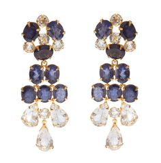 Earrings with Iolite and Clear Quartz