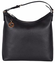 7006d0321cb Gucci Women s Leather GG Charm Purse Hobo Handbag (Black) Clout  WearTextured Black Calf Leather