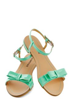 Port Things Out Sandal in Seafoam - Mint, Solid, Bows, Pastel, Flat, Faux Leather, Daytime Party, Summer, Variation