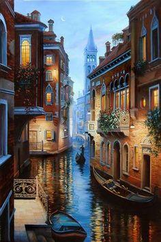 """живопись - городской пейзаж, купить картину """"Венецианская ночь"""""""