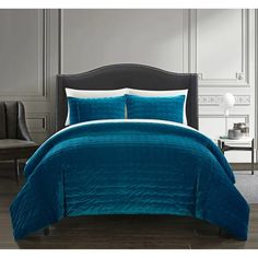 Chic Home Chyna 7 Piece Comforter Set Luxurious Hand Stitched Velvet Bed in a Bag Bedding - Sheet Set Pillowcases Decorative Pillow Shams Included, King Grey Bedroom Comforter Sets, Teal Bedding, Queen Comforter Sets, Duvet Sets, Bedroom Décor, Velvet Bedding Sets, Bedroom Ideas, Velvet Duvet, Cosy Bedroom