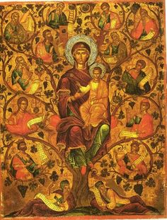 """Orthodox icon of Most Holy Theotokos like the """"Root or Tree of Jesse"""". Icon of cent, by Michael Damaskinos, Crete. Tree Of Jesse, Orthodox Catholic, Orthodox Christianity, Medieval Crafts, Kerala Mural Painting, Houses Of The Holy, Madonna And Child, Religious Icons, Orthodox Icons"""