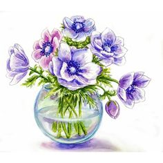 Spring flowers in vase, watercolor illustration ❤ liked on Polyvore featuring fillers