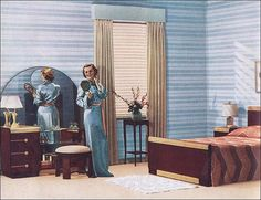 1937s Deco Blue Bedroom  by American Vintage Home, via Flickr