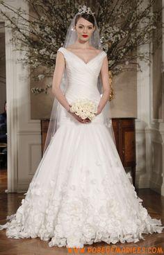 Robe de mariée sirène col V organza applique avec traîne