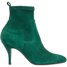 Pierre Hardy 'City Rider' ankle boots ($1,410) ❤ liked on Polyvore featuring shoes, boots, ankle booties, green, pierre hardy boots, suede bootie, green ankle boots, green boots and bootie boots
