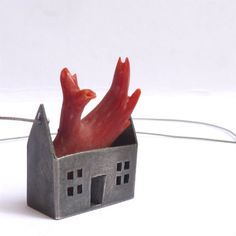 "Tasso Mattar for ArteArtesania - Necklace ""Burning House with Coral Flames"" 726€ -  silver, coral, stainless steel."