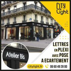 Lettres découpées en plexi blanc 5mm avec pose à écartement #lettresplexi #lettresdecoupees #lettresrelief #atelierbis #paris9 #citylight.fr