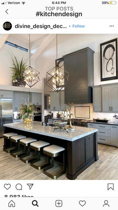 Definitive Proof That Gray Living Rooms Make a Striking Statement – Home Design Home Decor Kitchen, Kitchen Interior, New Kitchen, Home Kitchens, Kitchen Ideas, Kitchen Island, Cuisines Design, Modern Kitchen Design, Beautiful Kitchens
