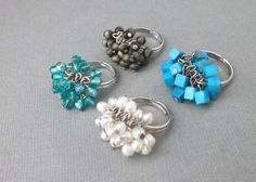 Cluster Rings White Pearl Blue Green Crystal by Thesingingbeader @singingbeader