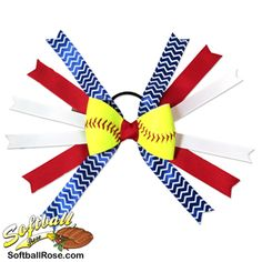 Handmade Softball Hair Bow made from real softball leather Chevron Ribbon, White Ribbon, Ribbon Colors, Red Ribbon, Softball Hair Bows, Softball Hairstyles, Different Font Styles, Rose Boutonniere, Making Hair Bows