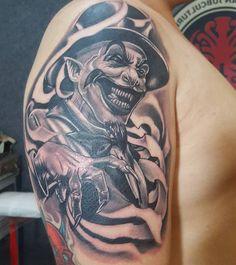 Evil Tattoos, Scary Tattoos, Chicano Tattoos, Leg Tattoos, Body Art Tattoos, Sleeve Tattoos, Tattoos For Guys, Jester Tattoo, Clown Tattoo