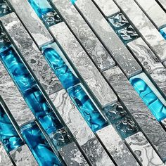 Glass and Marble Backsplash Tile, Teal Blue/Gray, mm Per Sheet, Interlocking Random Sized Modern Linear Mosaic Wall Tiles Glass Mosaic Tile Backsplash, Glass Pool Tile, White Mosaic Tiles, Mosaic Glass, Pool Tiles, Blue Glass Tile, Blue Tiles, Marble Mosaic, Turquoise Glass