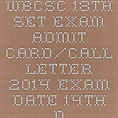 WBCSC 18th SET Exam Admit Card/Call Letter 2014 Exam Date 14th December | Indiaexamupdate.in