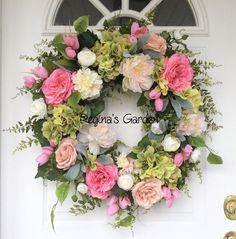 Spring Door Wreath-Easter Wreath-Wedding Decor-Spring Wreath-French Country Wreath-Cottage Wreath-Summer Wreath-Romantic Wreath